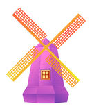 Windmill. Illustration of isolated windmill in cool color Royalty Free Stock Photo