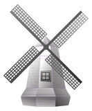 Windmill. Illustration of isolated windmill in black and white color Royalty Free Stock Images