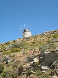 Windmill. Against a blue sky on the island of Naxos Greece Royalty Free Stock Image