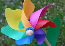 Windmill. Child's multi-coloured windmill toy stock photos