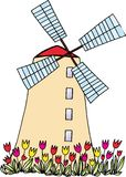 Windmill. With tulips on white background. vector image Stock Image