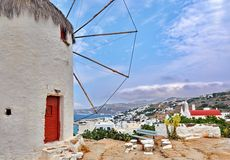 Windmill above the town of Mykonos Royalty Free Stock Photography