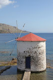 Windmill in the Aegean Sea, Leros Stock Images