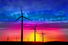 Windmill against a beautiful sky Stock Images