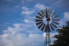 Windmill Against a Deep Blue Sky Stock Image