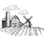 Windmill on agricultural field hand drawn sketch style illustration Royalty Free Stock Photography