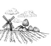 Windmill on agricultural field hand drawn sketch style illustration Royalty Free Stock Photo