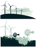 Windmill and Air Turbines Stock Photo