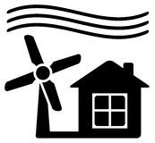 Windmill, alternative energy source for home. Black icon with windmill, alternative energy source for home Royalty Free Stock Photo