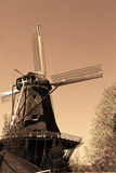 Windmill in Amsterdam in the sepia style Royalty Free Stock Photography