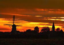 Free Windmill And Church At Weert-Tungelroy Royalty Free Stock Photos - 1591378