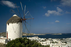 Windmill And Harbour Mykonos Stock Image