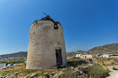 Windmill  in Ano Mera town, island of Mykonos, Cyclades Islands Stock Photo