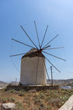 Windmill  in Ano Mera town, island of Mykonos, Cyclades Islands Royalty Free Stock Photography