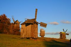 Windmill at Autumn Landscape Royalty Free Stock Photo