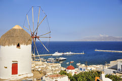 Windmill on the background of Chora Mykonos Royalty Free Stock Photo
