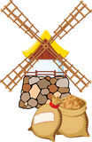 Windmill and bags. An old windmill and bags with wheat royalty free illustration
