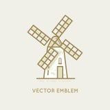 Windmill - bakery emblem Stock Photos