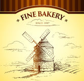 Windmill Bakery. Labels, pack for bread, bakery Royalty Free Illustration