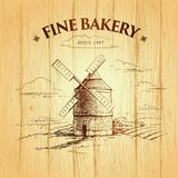 Windmill . Bakery. labels, pack for bread, bakery Stock Photography