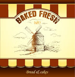 Windmill . Bakery. seamless background pattern Royalty Free Stock Image