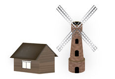 Windmill and barn Stock Photo