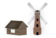 Windmill and barn Stock Photo