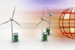 Windmill with battery Royalty Free Stock Photo