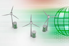 Windmill with battery Stock Photography