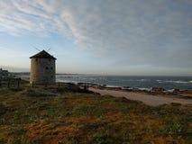 Apúlia beach. Windmill beach Apulia Royalty Free Stock Images