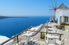 Windmill And Beautiful View In Santorini Stock Photography
