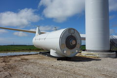 A windmill being assembled in ontario Royalty Free Stock Photos