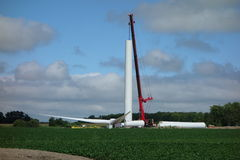 A windmill being assembled in ontario Stock Images