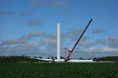 A windmill being assembled in ontario Stock Photo