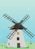 Windmill Birds Flowers_eps Royalty Free Stock Photo