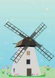 Windmill Birds Flowers_eps Royalty Free Stock Photo