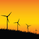 Windmill black silhouette on sunset illustration Stock Photos