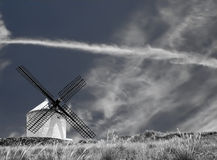 Windmill in Black and White Stock Photo