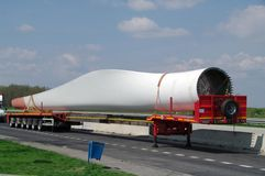 Windmill blade. Wind turbines blade on trailer plat Stock Photo