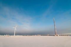 Windmill and blue sky Stock Photos