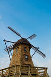 Windmill in the blue sky. Windmill standing in the blue sky creating a nice aerial view Stock Images
