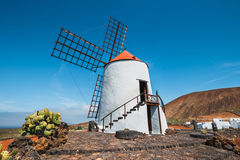 Windmill on blue sky background in cactus garden, Guatiza village, Lanzarote Royalty Free Stock Photography