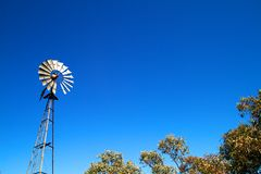 Windmill with blue sky and bush Royalty Free Stock Photos