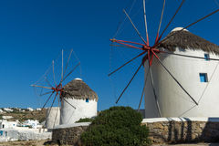 Windmill and blue sky on the island of Mykonos, Cyclades, Greece Royalty Free Stock Image