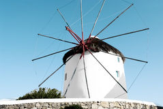 Windmill with blue sky in Mykonos Stock Image
