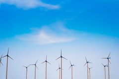 Windmill with blue sky. Wind Turbines  for alternative energy production Stock Photo