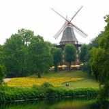 Wonderful windmill with a flower field. A Windmill in Bremen Germany Stock Image