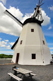 Windmill on Brnholm island. Old white windmill on Brnholm island, Denmark, Europe royalty free stock photos