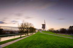 The windmill from Bruges, Belgium 2017. stock photos