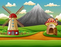 Free Windmill Building And The Mushroom House With A Mountain Background Royalty Free Stock Photo - 133336315